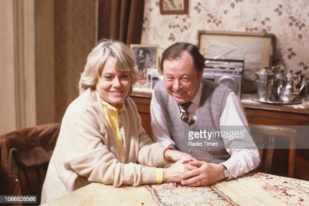 Actors Wendy Richard and Bill Treacher pictured on the set of the BBC soap opera 'EastEnders' 1984