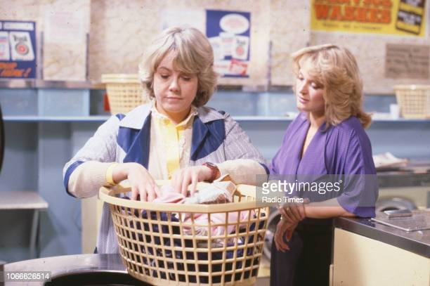 Actors Wendy Richard and Gillian Taylforth in a scene from the BBC soap opera 'EastEnders', 1984.