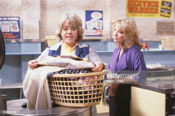 Actors Wendy Richard and Gillian Taylforth in a scene from the BBC soap opera 'EastEnders' 1984