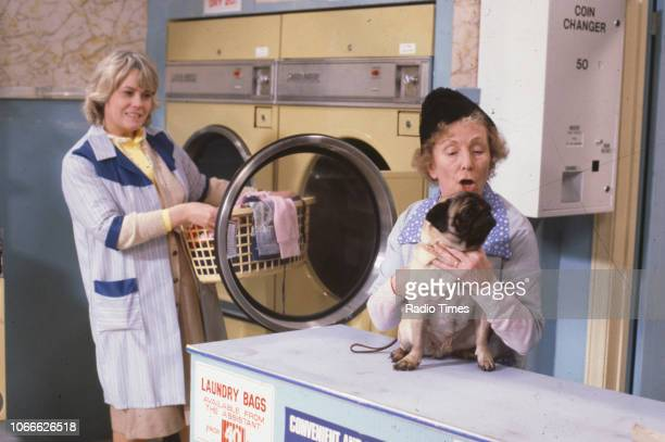 Actors Wendy Richard and Gretchen Franklin in a scene from the BBC soap opera 'EastEnders' 1984