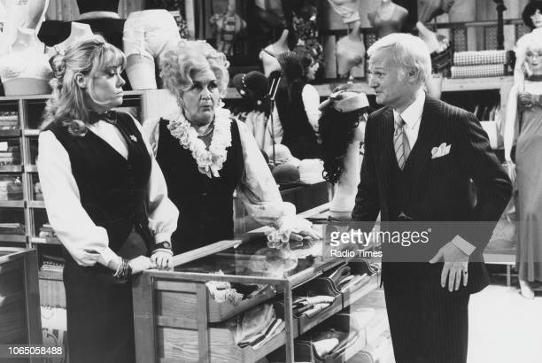 Actors Wendy Richard Mollie Sugden and John Inman in a scene from episode 'Grounds for Divorce' of the television sitcom 'Are You Being Served' May...