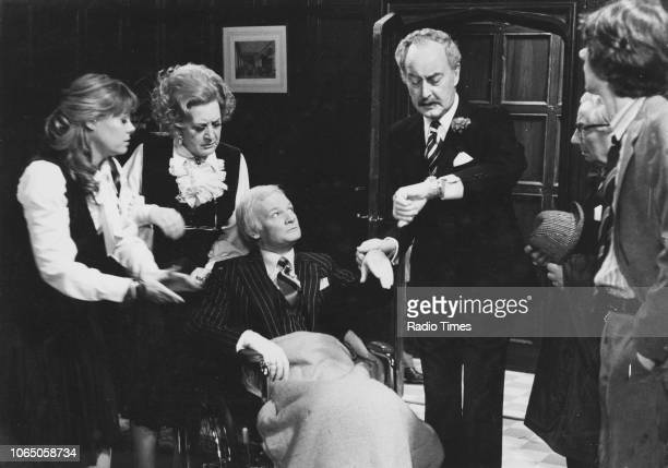 Actors Wendy Richard Mollie Sugden John Inman and Frank Thornton in a scene from episode 'Is It Catching' of the television sitcom 'Are You Being...