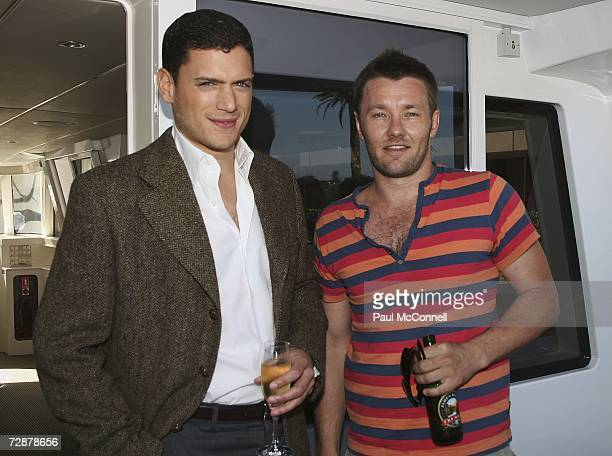 Actors Wentworth Miller and Joel Edgerton attend a Harbour Cruise to celebrate Foxtels new television deal with Twentieth Century Fox Television...