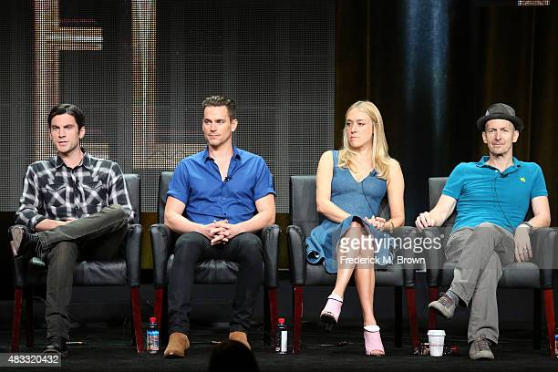Actors Wes Bentley Matt Bomer Chloe Sevigny and Denis O'Hare speak onstage during the 'AHS Hotel' panel discussion at the FX portion of the 2015...