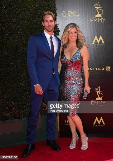 Actors Wes Raimsey and Laura Wright attend the 45th Annual Daytime Creative Arts Emmy Awards at the Pasadena Civic Auditorium on April 27 2018 in...