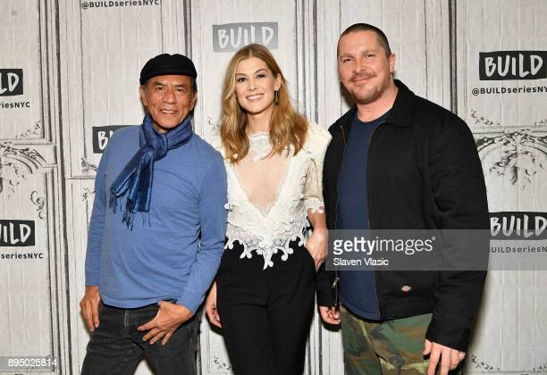 Actors Wes Studi Rosamund Pike and Christian Bale visit Build to discuss 'Hostiles' at Build Studio on December 18 2017 in New York City