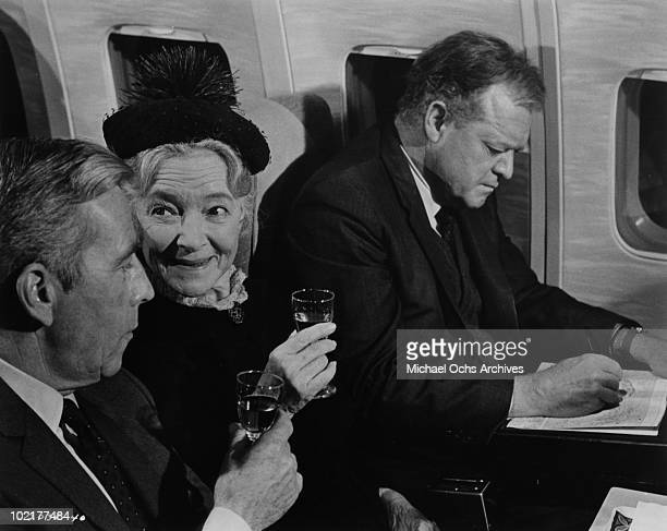 Actors Whit Bissell Helen Hayes and Van Hefflin in a scene from the movie 'Airport' in 1970 in California