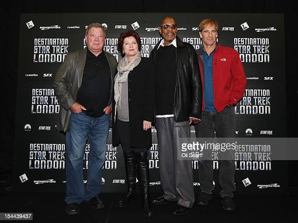 Actors who played Captains in the Star Trek series pose for a photograph at the 'Destination Star Trek London' convention at the ExCeL centre on...