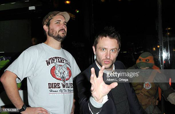 Actors Wil Wheaton and Chris Hardwick at the Chris Hardwick Book Release Party for The Nerdist Way with a reading QA and signing held at Meltdown...