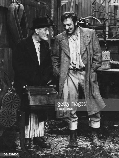 Actors Wilfrid Brambell and Harry H Corbett in a scene from episode 'A Death in the Family' of the television sitcom 'Steptoe and Son' March 6th 1970