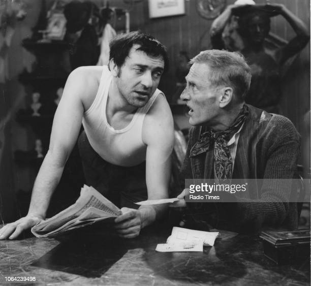 Actors Wilfrid Brambell and Harry H Corbett in a scene from episode 'The Bonds That Bind Us All' of the television sitcom 'Steptoe and Son' January...