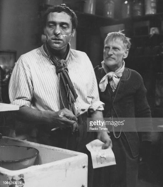 Actors Wilfrid Brambell and Harry H Corbett in a scene from episode 'The Bird' from the television sitcom 'Steptoe and Son' May 16th 1962