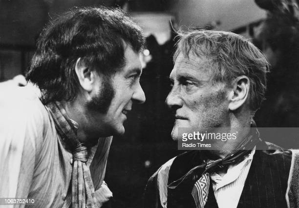 Actors Wilfrid Brambell and Harry H Corbett standing face to face during an argument in a scene from the television show 'Steptoe and Son' March 8th...