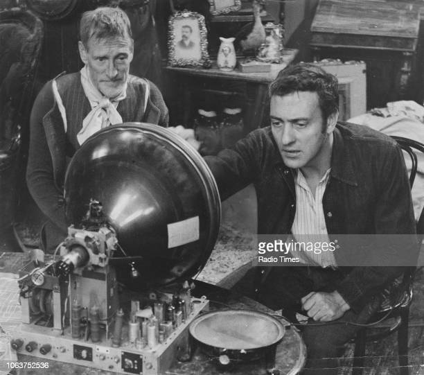 Actors Wilfrid Brambell and Harry H Corbett using a gramophone in a scene from the 'Steptoe and Son' episode 'A Musical Evening' May 23rd 1962