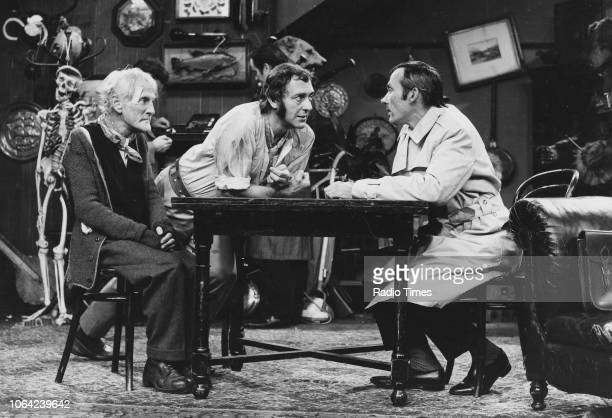 Actors Wilfrid Brambell Harry H Corbett and Dudley Foster in a scene from episode 'Robbery with Violence' of the television sitcom the 'Steptoe and...