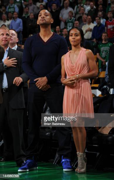 Actors Will and Jada Pinkett Smith in attendance for the game between the Philadelphia 76ers and the Boston Celtics in Game Five of the Eastern...