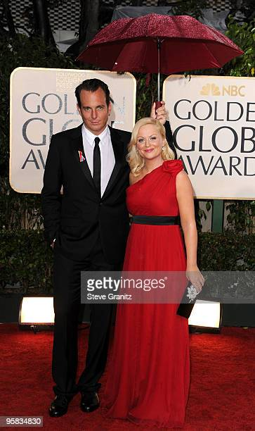 Actors Will Arnett and Amy Poehler arrive at the 67th Annual Golden Globe Awards at The Beverly Hilton Hotel on January 17, 2010 in Beverly Hills,...