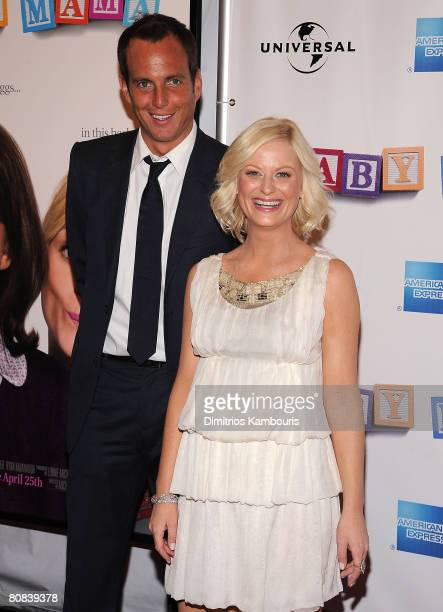 Actors Will Arnett and Amy Poehler arrives to the Baby Mama premiere at the Ziegfeld Theatre during the 2008 Tribeca Film Festival on April 23 2008...
