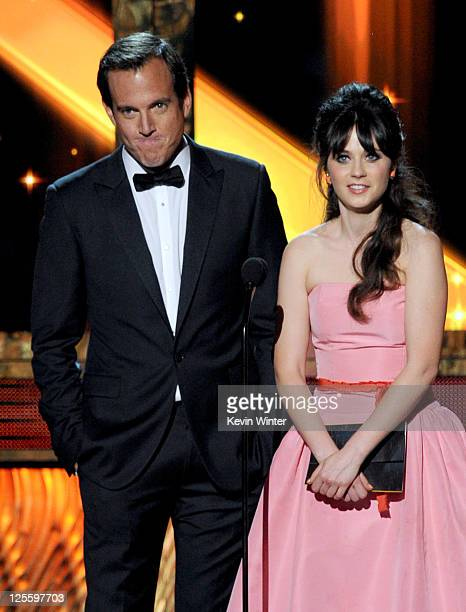 Actors Will Arnett and Zooey Deschanel speak onstage during the 63rd Annual Primetime Emmy Awards held at Nokia Theatre LA LIVE on September 18 2011...