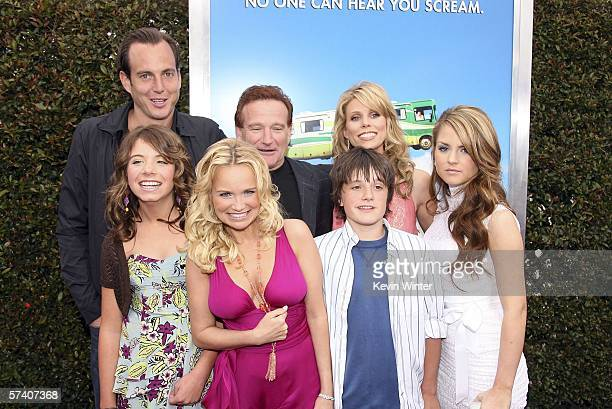 Actors Will Arnett Chloe Sonnenfeld Kristin Chenoweth Robin Williams Josh Hutcherson Cheryl Hines and Jo Jo Levesque pose at the premiere of Columbia...