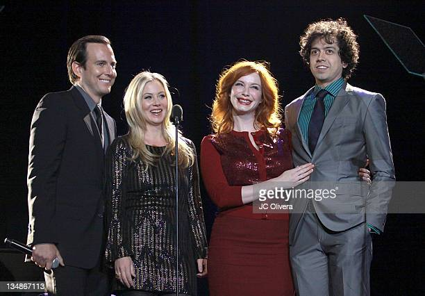 Actors Will Arnett Christina Applegate Christina Hendricks and Geoffrey Arend on stage during 'Trevor Live at The Hollywood Palladium' held at the...