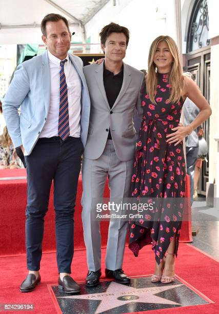 Actors Will Arnett Jason Bateman and Jennifer Aniston attend the ceremony honoring Jason Bateman with Star on the Hollywood Walk of Fame on July 26...