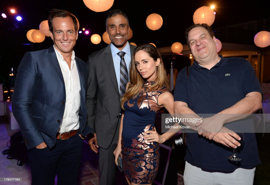 Actors Will Arnett, Rick Fox, Eliza Dushku, and Jeff Garlin attend the 87th birthday celebration of Tony Bennett and fundraiser for Exploring the Arts, the charity organization founded by Mr. Bennett and wife Susan Benedetto, hosted by Ted Sarandos & Nicole Avant Sarandos among celebrity friends and family on August 3, 2013 in Beverly Hills, California.