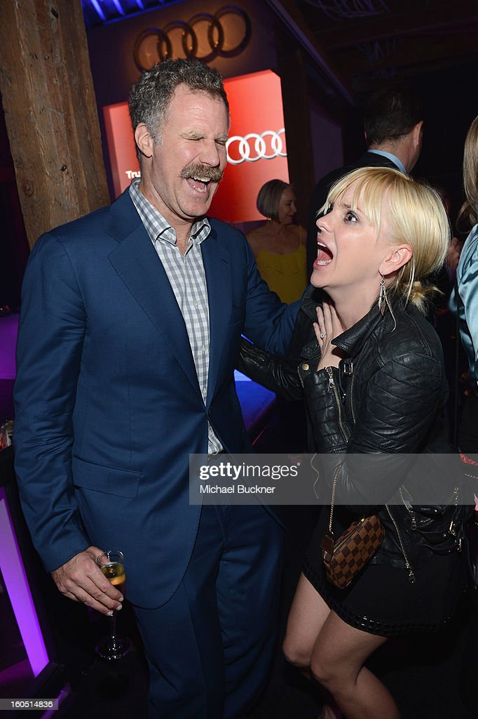 Actors Will Ferrell (L) and Anna Faris attend the Audi Forum New Orleans at the Ogden Museum of Southern Art on February 1, 2013 in New Orleans, Louisiana.