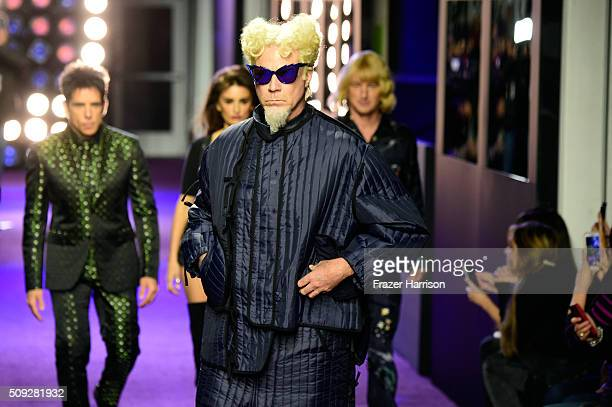 Actors Will Ferrell and Ben Stiller Penelope Cruz and Owen Wilson walk the runway during the 'Zoolander No 2' World Premiere at Alice Tully Hall on...