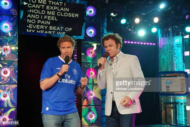 Actors Will Ferrell and John C Reilly sing karaoke on MTV's 'TRL' at MTV Studios on July 22 2008 in New York City
