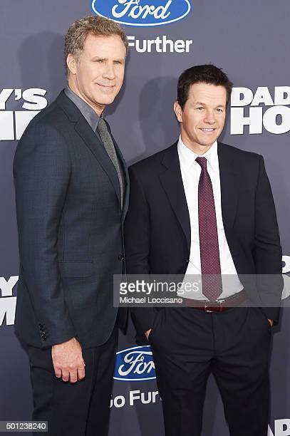 Actors Will Ferrell and Mark Wahlberg attend the Daddy's Home New York premiere at AMC Lincoln Square Theater on December 13 2015 in New York City