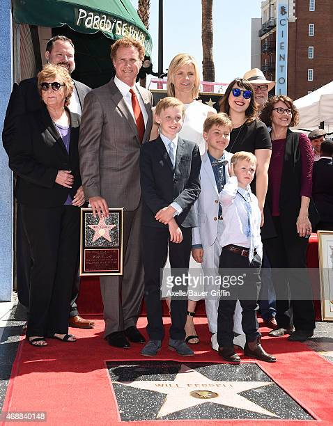 Actors Will Ferrell and wife Viveca Paulin with sons Magnus Ferrell Mattias Ferrell and Axel Ferrell and family attend the ceremony honoring Will...