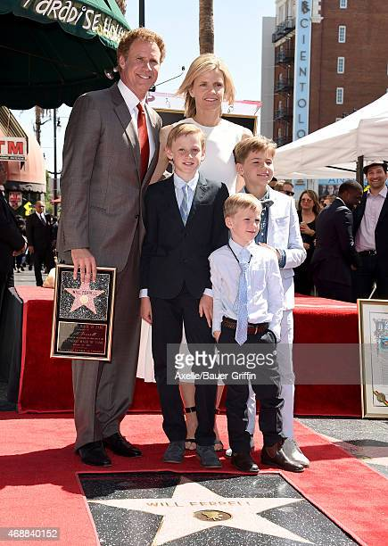 Actors Will Ferrell and wife Viveca Paulin with sons Magnus Ferrell Mattias Ferrell and Axel Ferrell attend the ceremony honoring Will Ferrell with a...