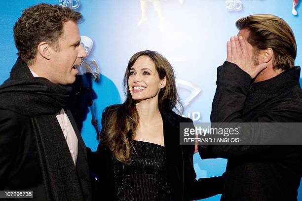US actors Will Ferrell Angelina Jolie and Brad Pitt attend the preview of the Dream Works' new animation film MEGAMIND on November 29 2010 in Paris...