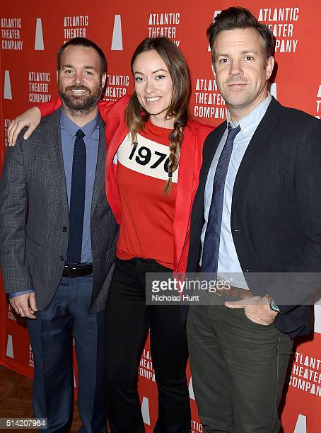 Actors Will Forte Olivia Wilde and Jason Sudeikis attend the 2016 Atlantic Theater Company Actors' Choice Gala at The Pierre Hotel on March 7 2016 in...
