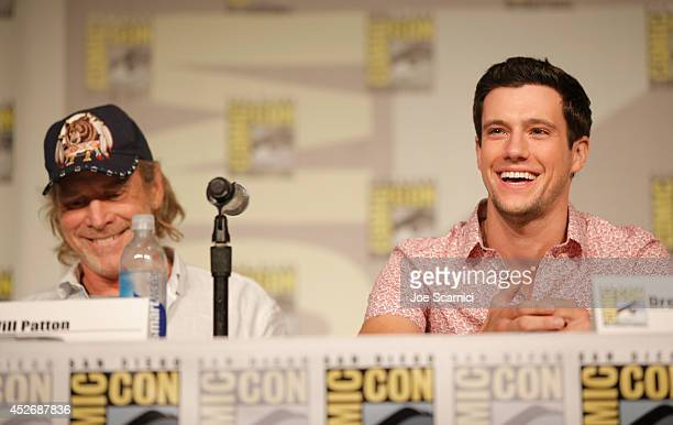 Actors Will Patton and Drew Roy speak onstage at the TNT at ComicCon International San Diego 2014 'Falling Skies' Panel at San Diego Convention...