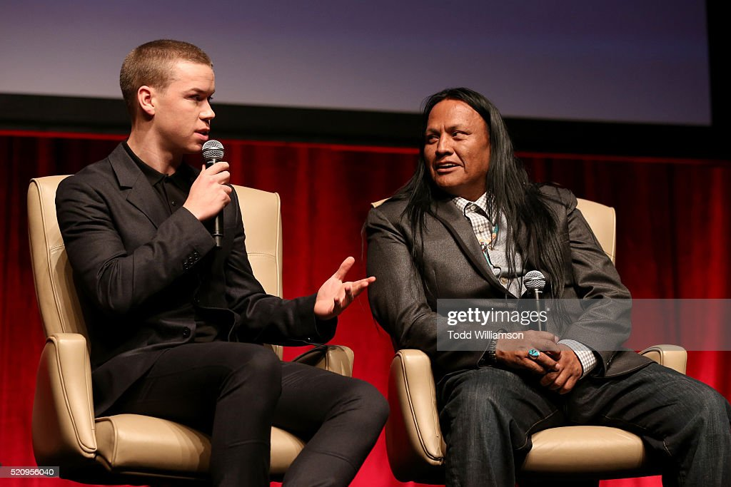 "Actors Will Poulter (L) and Arthur Redcloud speak onstage during CinemaCon and 20th Century Fox Present ""From Passion to the Big Screen: An Afternoon with the Creative Team Behind 'The Revenant'"" at Caesars Palace during CinemaCon, the official convention of the National Association of Theatre Owners, on April 13, 2016 in Las Vegas, Nevada."