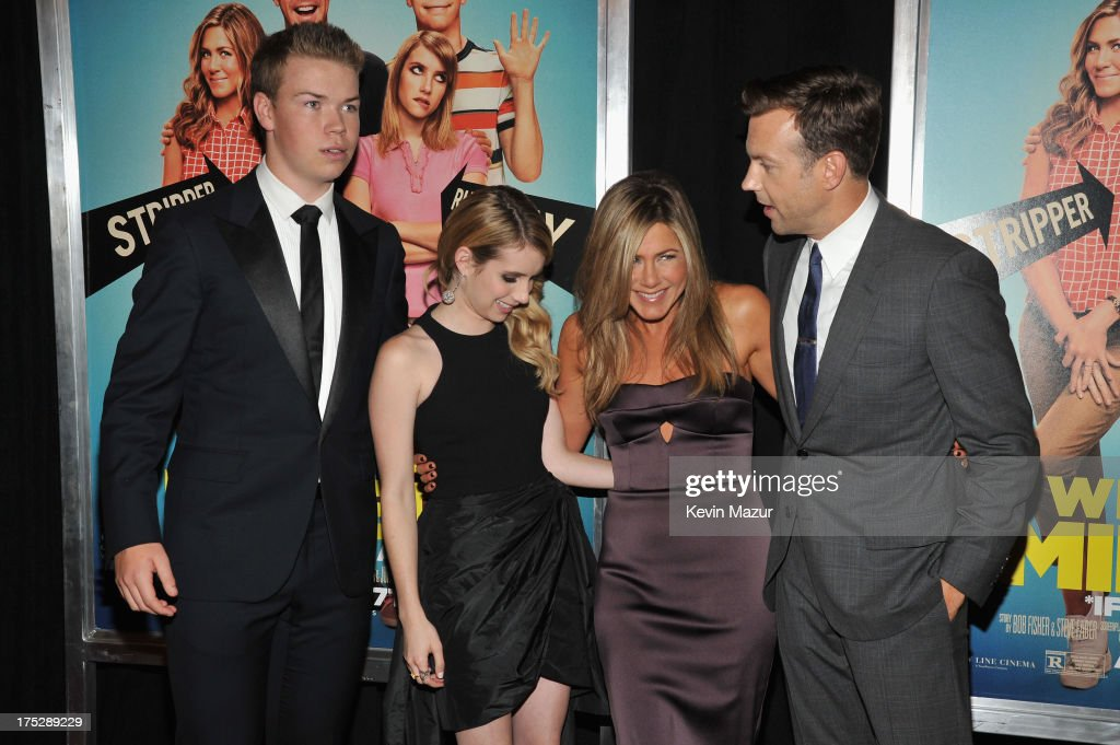 Actors Will Poulter, Emma Roberts, Jennifer Aniston and Jason Sudeikis attend the 'We're The Millers' New York Premiere at Ziegfeld Theater on August 1, 2013 in New York City.