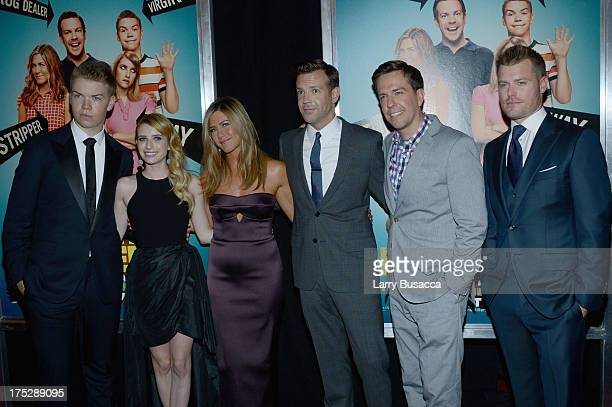 Actors Will Poulter Emma Roberts Jennifer Aniston Jason Sudeikis Ed Helms and Rawson Marshall Thurber attend the We're The Millers New York Premiere...