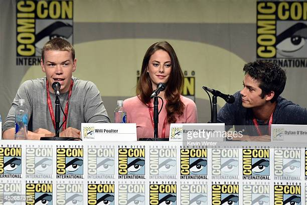 Actors Will Poulter Kaya Scodelario and Dylan O'Brien attend the 20th Century Fox presentation during ComicCon International 2014 at San Diego...