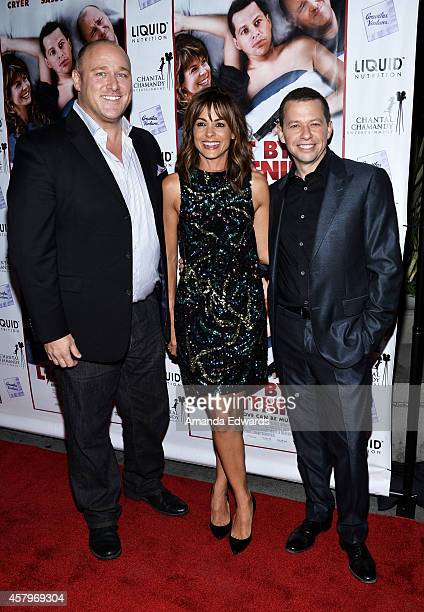 Actors Will Sasso Stephanie Szostak and Jon Cryer arrive at the Los Angeles premiere of Hit By Lightning at the ArcLight Hollywood on October 27 2014...
