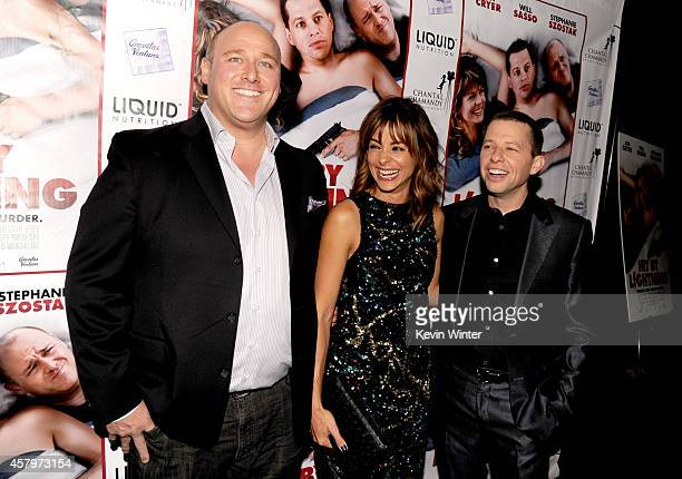 Actors Will Sasso Stephanie Szostak and Jon Cryer arrive at the premiere of Hit By Lightning at the Arclight Theatre on October 27 2014 in Los...
