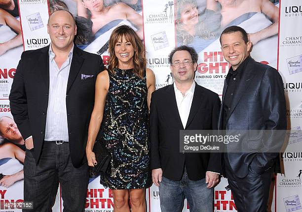 Actors Will Sasso Stephanie Szostak director Ricky Blitt and Jon Cryer arrive at the Los Angeles premiere of Hit By Lightning at ArcLight Hollywood...