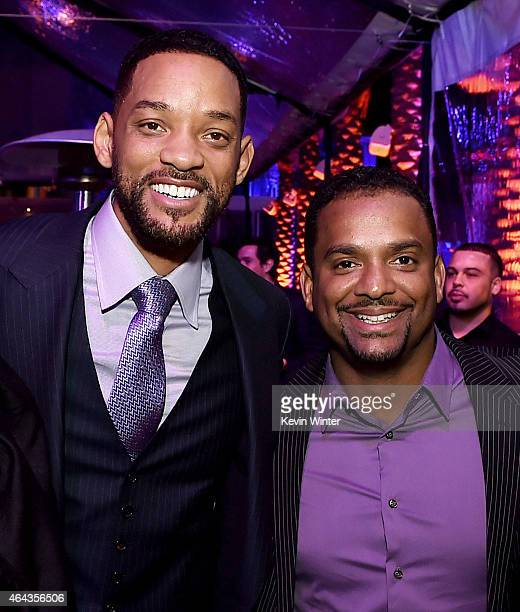 Actors Will Smith and Alfonso Ribeiro pose at the after party for the premiere of Warner Bros Pictures' 'Focus' at the W Hotel on February 24 2015 in...