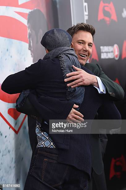 "Actors Will Smith and Ben Affleck embrace during the ""Batman V Superman: Dawn Of Justice"" New York Premiere at Radio City Music Hall on March 20,..."