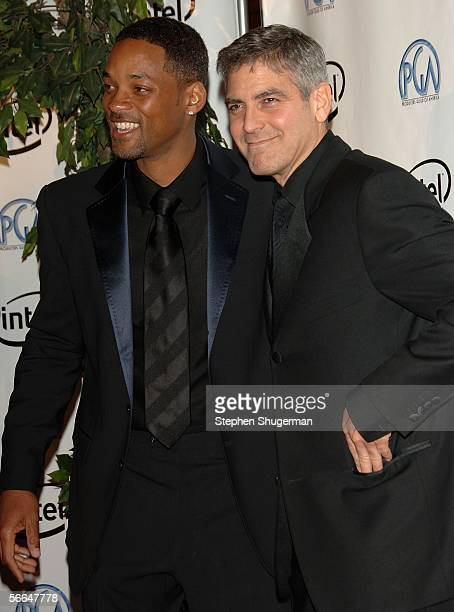 Actors Will Smith and George Clooney arrive at the 2006 Producers Guild awards held at the Universal Hilton on January 22 2006 in Universal City...