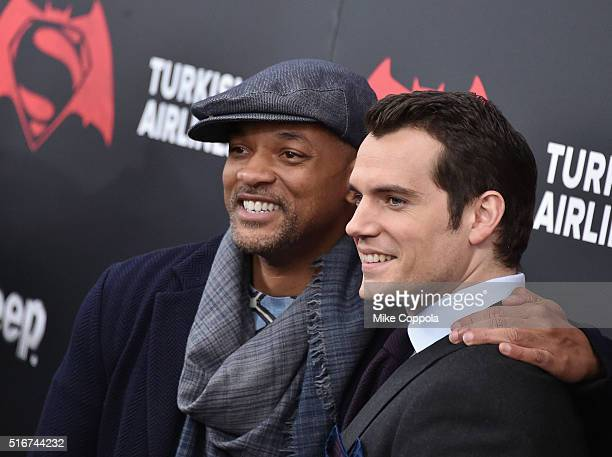 "Actors Will Smith, and Henry Cavill attend The ""Batman V Superman: Dawn Of Justice"" New York Premiere at Radio City Music Hall on March 20, 2016 in..."