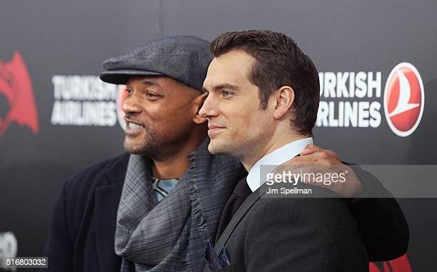 """Actors Will Smith and Henry Cavill attend the """"Batman V Superman: Dawn Of Justice"""" New York premiere at Radio City Music Hall on March 20, 2016 in..."""