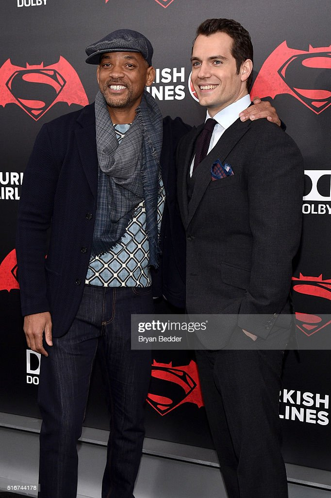 Actors Will Smith and Henry Cavill attend the launch of Bai Superteas at the 'Batman v Superman: Dawn of Justice' premiere on March 20, 2016 in New York City.