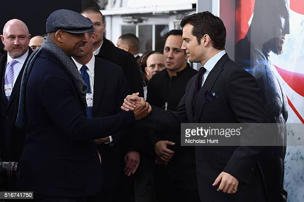 "Actors Will Smith and Henry Cavill shake hands during the ""Batman V Superman: Dawn Of Justice"" New York Premiere at Radio City Music Hall on March..."